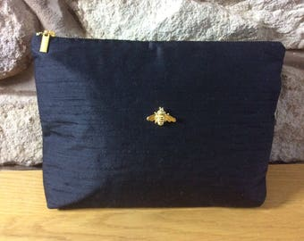 Black Silk with Bee Luxury Ultra Glamorous Wash Bag