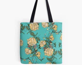 Floral tote bag, floral tote, flower tote, tote bag, vintage inspired tote bag, bridesmaid gift idea, pretty tote bag, vintage inspired bag