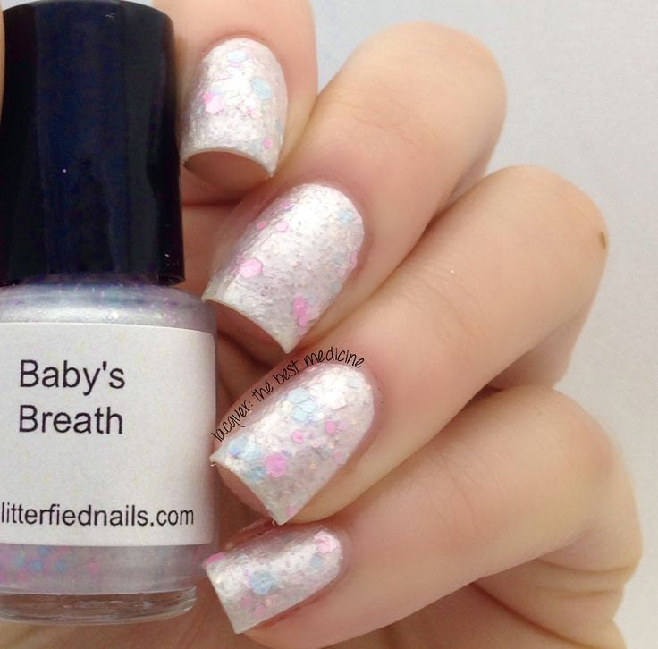 Baby\'s Breath Pearl White Blue Pink Glitter Nail Polish