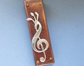 Music Lover's Mezuzah -NEW! Sterling Silver and Copper