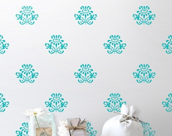 Pretty Damask Decals, Floral Damask Wall Decals, Retro Wall Decor, Shabby Chic Wall Stickers, Removable Vinyl Stickers, Vintage Wall Art