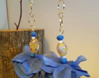 "Classic blue dangle  flower earrings "" Isabelle """