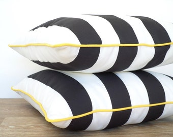 Black and white outdoor pillow cover, black outdoor cushion case, block stripe pillow with piping black and yellow decor, striped cushion