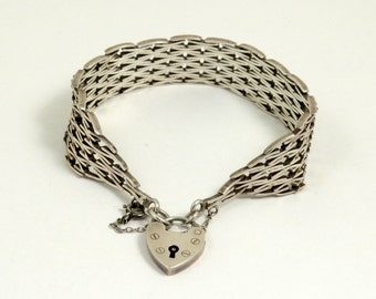 Vintage Gate Bracelet with Heart Padlock Clasp, English Hallmarked Sterling Silver