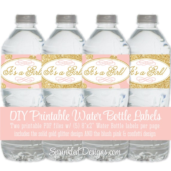 Perfect Printable Baby Shower Water Bottle Labels Itu0027s A Girl