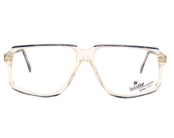 blue vintage eyeglasses - dark blue transparent glasses - midnight blue 80s deadstock clear frame - cazal style mens glasses frames