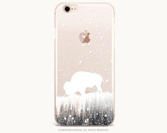 Bison iPhone 8 Case iPhone X Case iPhone 7 Case Winter Buffalo Clear GRIP Rubber Case iPhone 7 Plus Clear Case Samsung S8 Plus Case U326
