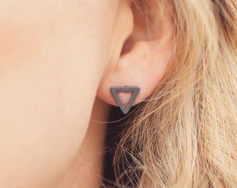 Everyday earrings | Triangle earrings | Silver stud earrings | Geometric earrings | Silver earrings uk | Oxised black earrings