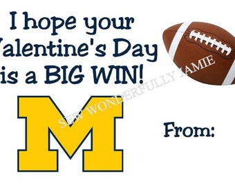 Michigan Wolverines Valentine's Day Printable DIY Football