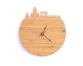 Geneva Skyline Clock - Cherry and Walnut Modern Wall Clock
