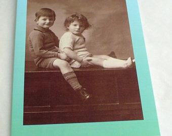 Boys seated Blank Greetings Cards  featuring Vintage Images   Choice of border colour