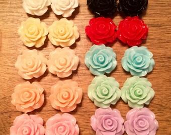 18mm Handmade Rose Earrings