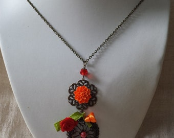 "necklace ""red and orange flowers"""