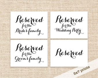 Reserved Wedding Sign - Printable Bride's Family Reserved Sign - Groom's Family Reserved Sign - Wedding Party Reserved Sign - Printable Sign