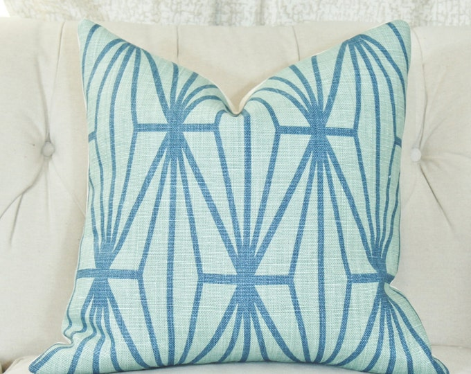 Kelly Wearstler Katana Pillow Cover - Jade Teal - Teal and Turquoise Blue Pillow - Designer Geometric Pillow Cover - Lee Jofa - Groundworks