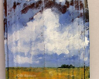 Landscape, Cloud Painting, Original Painting, Vintage Tin, Original Art, Winjimir, Home Decor, Rustic Decor, Gift, Garden, Patio, Porch, Art
