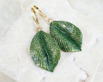 Elven Leaf Earrings, Hand Painted Forest Green Leaves w/ Brass Lever-back Ear Wires - Boho Chic Fantasy Elvish Jewelry - Green Leaf Earrings