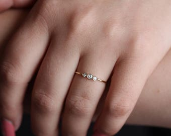 14k solid gold ring diamond band three stone ring past present and future ring stacking ring diamond anniversary ring eternity ring