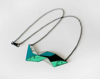 Geometric Necklace, unique shrink plastic necklace, metal chain jewelry, nickel free, green and blue jewellery