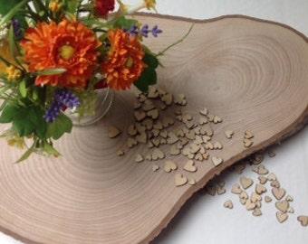 100 pieces of wood confetti mini hearts