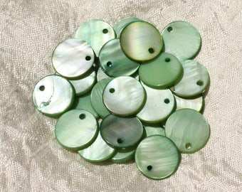 10pc - charms Pearl green round 15mm 4558550019950