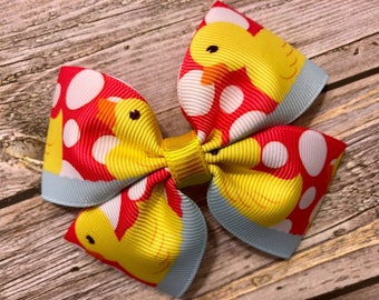 duck bow, rubber duck bows, rubber ducks, hair bows, hair clips, girls hair bows, hair bows for girls, boutique bows, kids bows