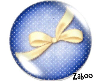 2 cabochons 25mm glass bow So chic, blue and beige