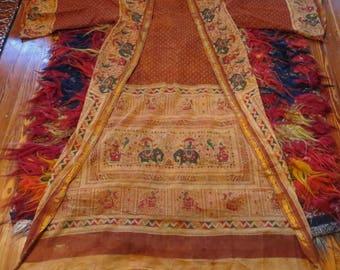 SALE 70s Indian Print Long Sheer Summer Robe/Coat/Dress/Beach Cove Up