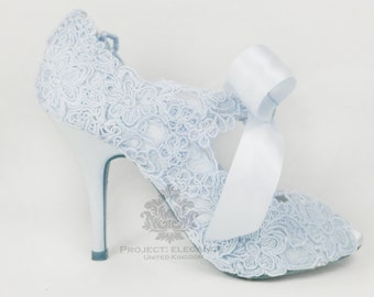 Eliza Lilly - Stunning Powder Blue satin & Lace Vintage Peep Toe Shoes - Any height, any colour