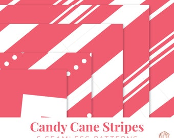 Candy Cane Digital Pattern, Candy Candy Seamless Pattern, Scrapebook Paper, Candy Cane Stripes, Candy Cane Pattern
