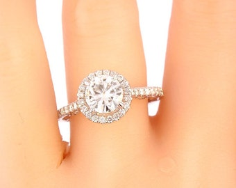 14K White Gold Diamond Halo Round Brilliant Diamond Center Stone Engagement Ring Wedding Ring Promise Ring Yellow Gold Rose Gold 18K