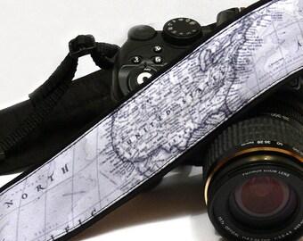 Grey World Map Camera Strap. Photo camera Accessories. SLR, DSLR Camera Strap. Gift For Photographer. Personalized Camera Strap