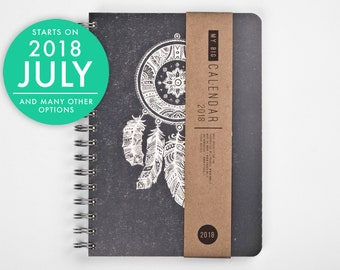 2018 2019 Weekly Planner with a high quality paper! Dreamcatcher Feathers A5 Diary! Calendar Calendario Kalender Agenda Journal! Open-dated