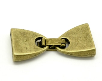 1 Antique Bronze Clasps - 28mm x 13mm -  Antiqued Bronze Clasp for Flat Leather Cord, Ribbon Necklaces, Bracelets