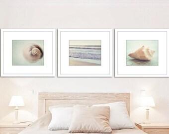 Coastal prints, set of 3, beach photos, seashell photography, ocean wall decor, nautical photography, ocean photography, nautical decor