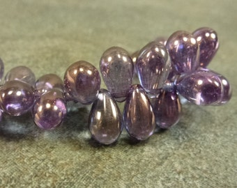 Luminescent Amethyst Czech Glass Teardrop 9x6mm 50pc