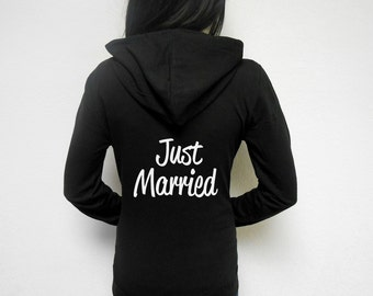 Just Married Hoodie. Honeymoon Hoodie. Zip Up Hoodie. Just Married Zip-Up Hoodie. Bridal Hoodie. Cute Honeymoon Sweatshirt.