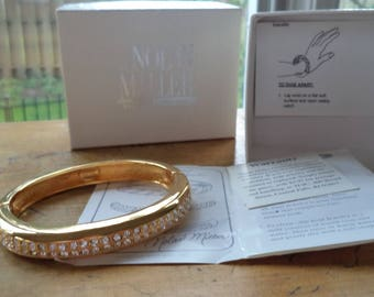 Nolan Miller Crystal Rhinestone Hinged Bangle Bracelet Gold Tone Original Box Papers Excellent Condition