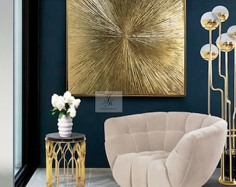 Gold Leaf Art Original Large Abstract Painting Gold Painting  Gold Leaf Texture Wall Art Oil Painting On Canvas Modern Art by Julia Kotenko