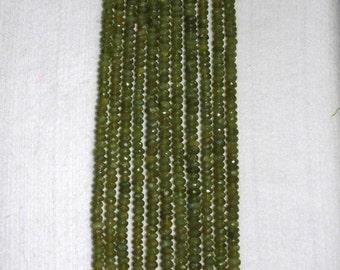 Vesuvianite, Vesuvianite Rondelle, Faceted Rondelle, Natural Stone, Semi Precious, Olive Bead, Sparkle Bead, Half Strand, 6mm, AdrianasBeads
