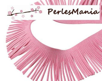 Suede fringe trim 20cm pink CREATION TASSELS 50mm