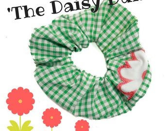Hair Scrunchie, 80s 90s Hair Tie, 'The Daisy Duke ', Green White Gingham, 80s hair accessories, 90s accessory, upcycled, vintage fabric