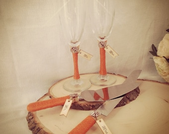 Toasting Glasses and Cake cutting Set, Fall Wedding Cake Cutting and Champagne Set. Rustic or Country theme Wedding