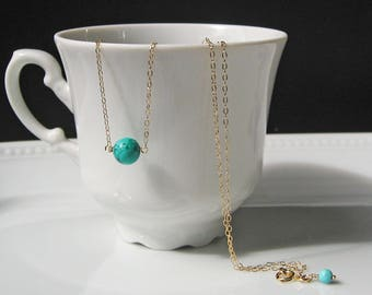 Turquoise Necklace, 14k Gold Filled or 925 Sterling Silver, Layering Necklace, Stone Necklace, Bridesmaid Gift, December Birthstone