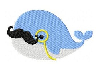 Embroidery Design Monocled Whale 4'x4' - DIGITAL DOWNLOAD PRODUCT