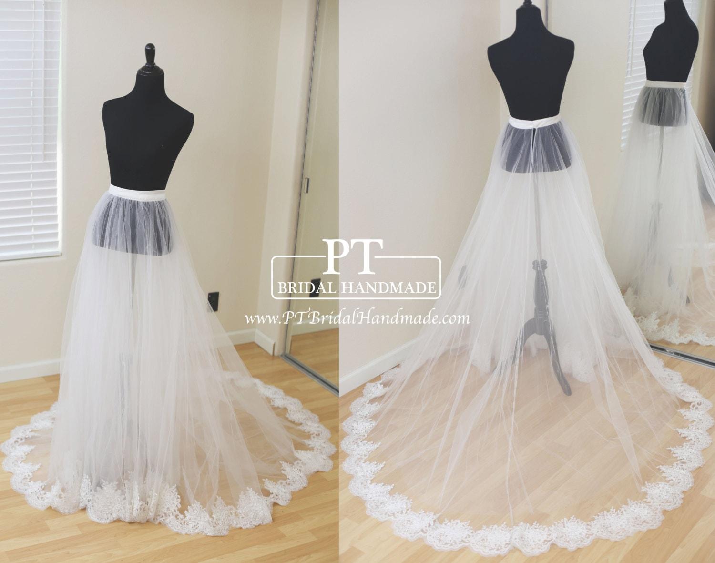 Detachable bridal skirt wedding overskirt removable tulle zoom junglespirit Choice Image