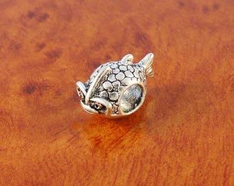 Fish bead / silver European charm bracelet bead / big hole bead / animal bead