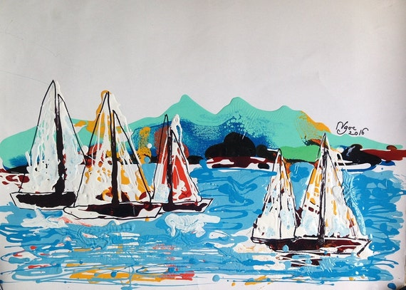 "SAILING LAKE UNION 21.7x15.7"" oil on paper, lines, Seattle boats, Lake Union, original painting by Nguyen Ly Phuong Ngoc"