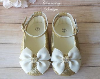Christening Shoes - Gold Christening Shoes - Baby Girl Christening Shoes - Baptism Shoes Girl, Flower Girl Shoes, IVORY and Gold Baby Shoes