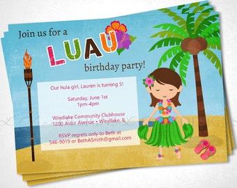 Luau Hula Hawaiian Birthday Party Invite - DIY Printable
